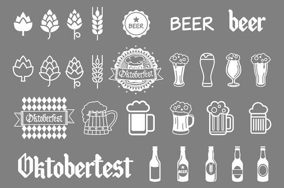 Vector grey beer icons set. art - Graphics