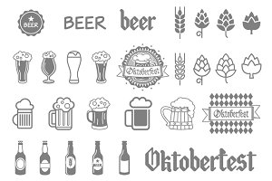 Simple set of beer related vector