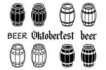 Barrels set. Vector beer wood