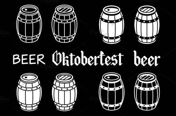 Barrels set. Vector beer wood - Graphics