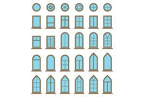 Set of different window icons