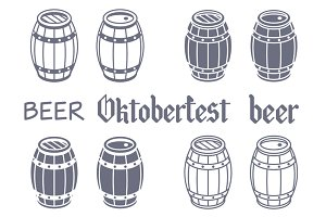 Barrels set. Vector beer wood