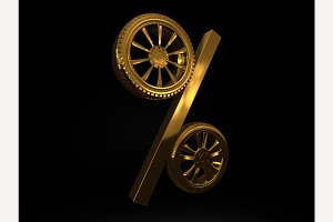 Golden Wheel Sale. 3D rendering