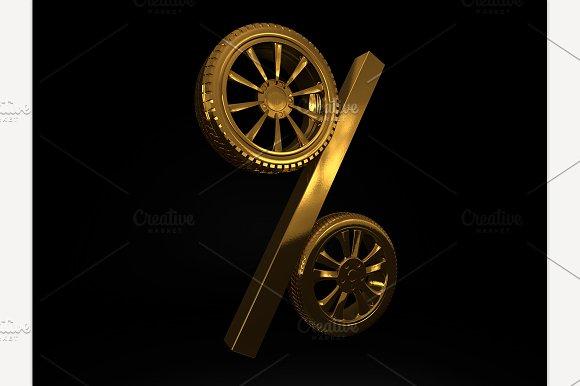 Golden Wheel Sale. 3D rendering - Graphics