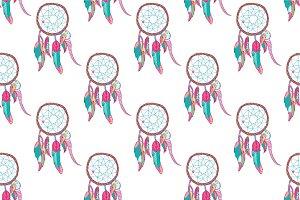 Indian dreamcatcher seamless pattern