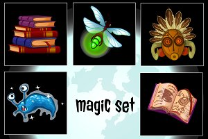 Set of nine magic icons stuff 2