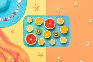 Fashion Summer Beach set. Tropical fruit. Minimal