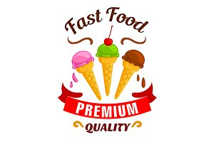 Fast food ice cream dessert label