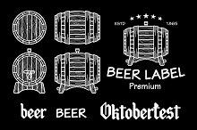 barrel beer set vector