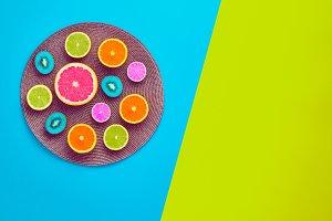 Fashion Summer Tropical fruit. Minimal Art Concept