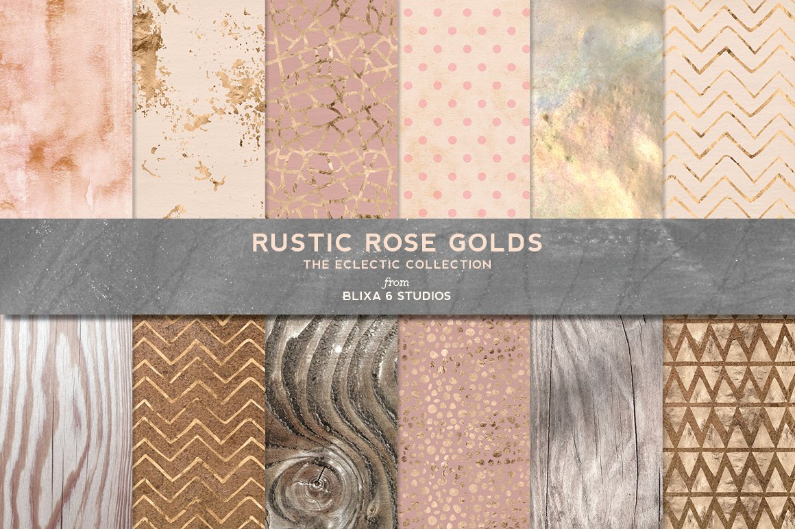Rustic Rose Gold Textures Patterns Graphic Creative Market