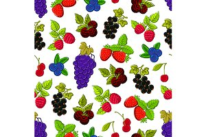 Berries and fruits seamless pattern
