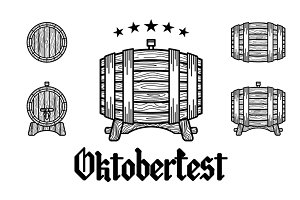 beer barrel, oktoberfest vector