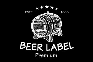 Vintage Logo barrel beer label