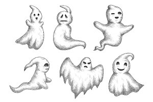 Cartoon halloween funny ghosts