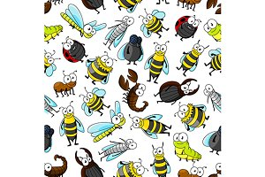 Cartoon cute insect seamless pattern