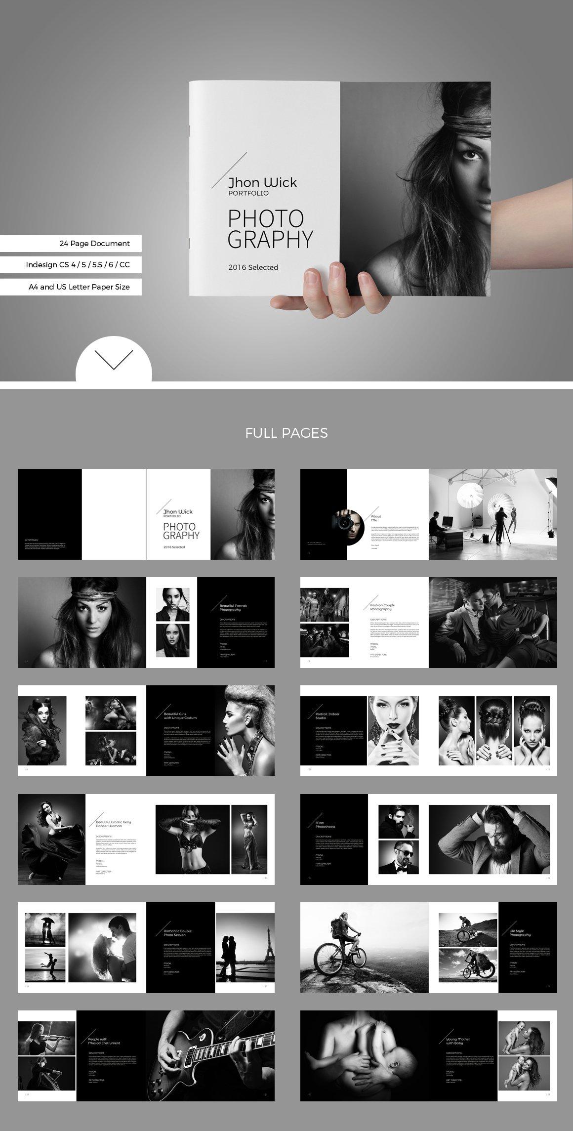 Portfolio photobook brochure templates creative market for Book page design ideas