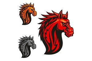 Fierce powerful horse head
