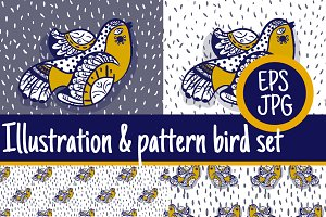 2+2 illustration and pattern bird