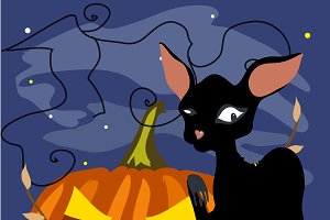 Halloween black cat with pumpkin