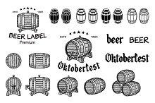 Vector set of barrels beer