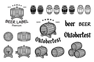 Vector set of barrels beer