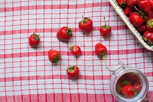 strawberries on the tablecloth