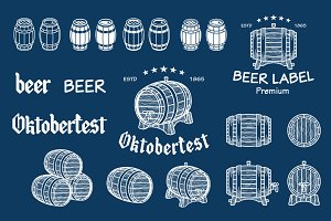 Vector beer barrel drawn vector