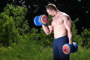 man doing exercises outdoor
