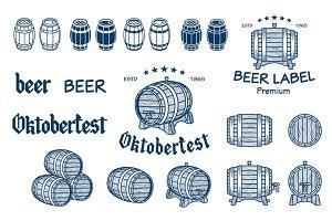 set barrels vintage style vector