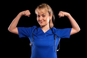 doctor woman in blue labcoat