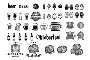 Vintage craft beer emblems, labels