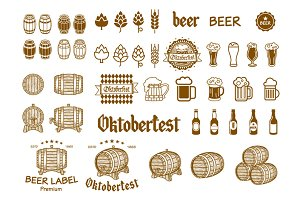 Beer icon chalkboard set