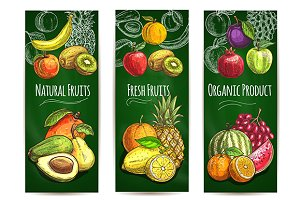 Fresh fruits banners set
