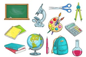 School supplies vector sketches