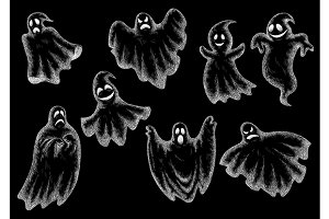 Halloween funny comic ghosts