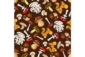Forest Mushrooms seamless pattern