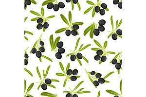 Olive branches seamless background