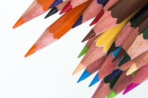 Color pencils pointing down