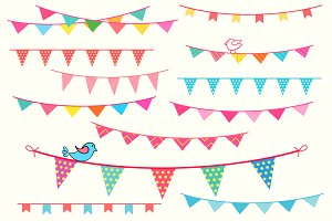 Bunting banner cliparts