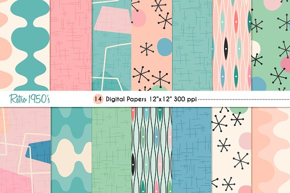 Retro 60's Digital Papers Graphic Patterns Creative Market Unique 1950s Patterns