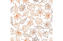 Leaves outline seamless pattern