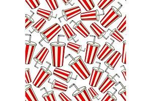 Coke paper cup seamless pattern