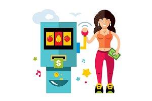 Slot machine and Girl.