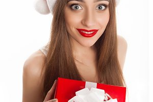 model wearing Santa Claus hat