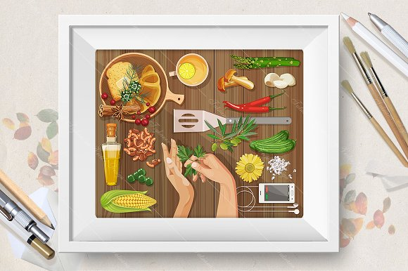 Workplace concept. Food theme - Illustrations