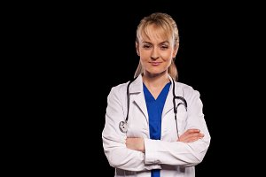 doctor in labcoat with blond hair