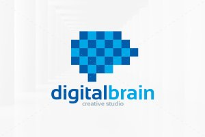 Digital Brain Logo Template