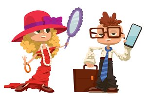 Cartoon boy and girl dressed vector