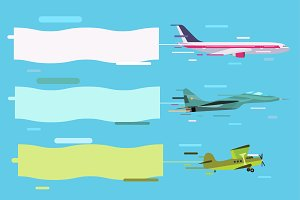 Planes set banners vector